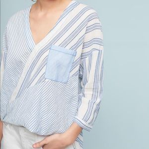 Anthropologie xs blue and white striped shirt